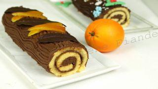Бисквитный рулет с шоколадным кремом ганаш и апельсиновыми цукатами