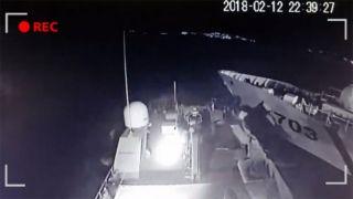 Видео столкновения греческого и турецкого судов возле Имиа