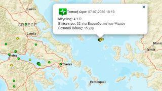 Землетрясение силой 4,1 балла около острова Псарон