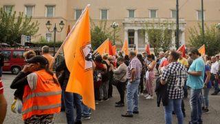 Центр Афины в суматохе митингов