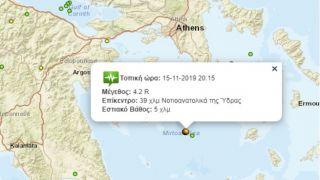 Землетрясение 4.2 балла около острова Гидра