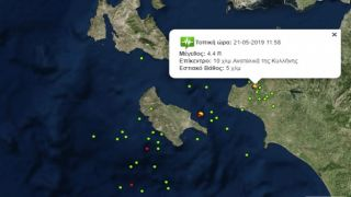 Землетрясения  4,4 и 4 балла, в Западной Греции