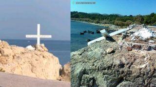 На Лесбосе восстановили крест, уничтоженный неизвестными