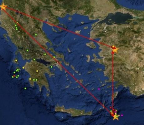 Треугольник  землетрясений вокруг Греции