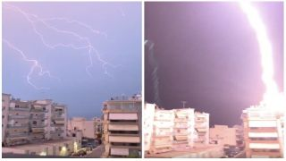 Мощный разряд молнии в Греции попал на видео