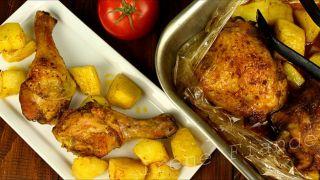 Куриные окорочка  запечённые в духовке в рукаве