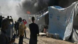 Мятеж и пожар в центре содержания беженцев в Мория